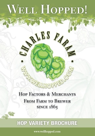 Front page of the Charles Faram Hop Variety brochure. It shows our logo and the website address