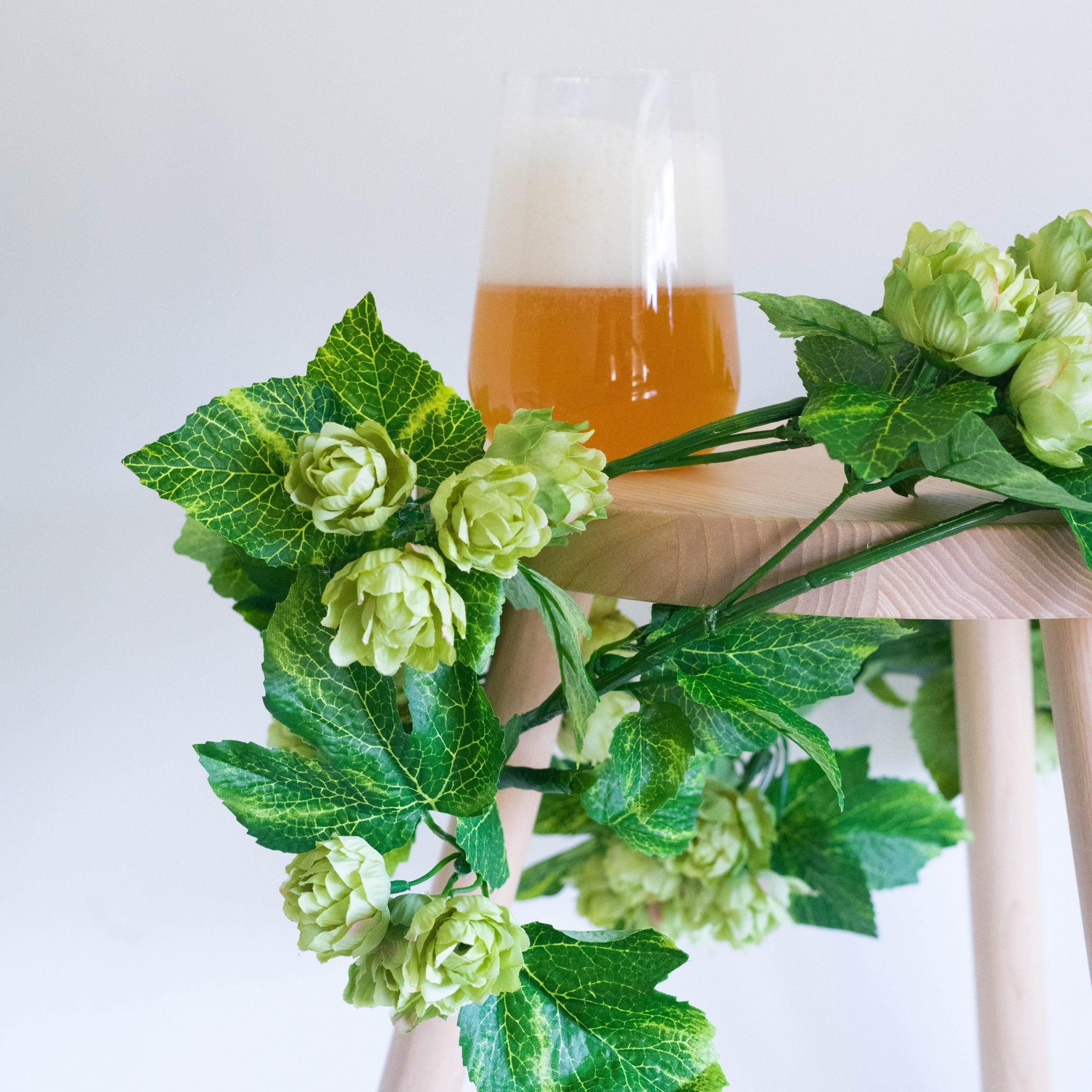 Photo of the artificial hop bines wrapped around a beer on a stool
