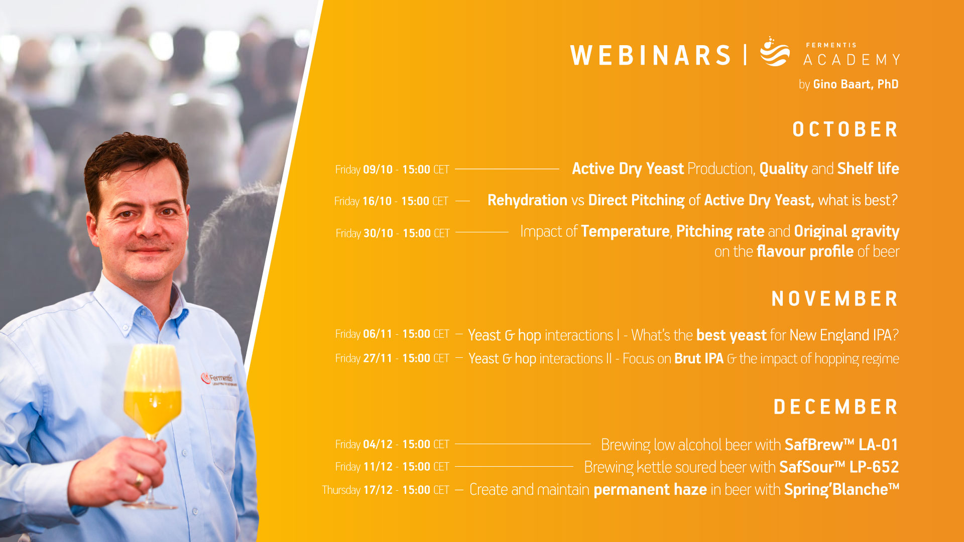 graphic showing the dates for the winter webinars and a photo of Gino Baart, the host