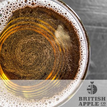 Photo of cider glass with British Apple co logo